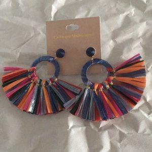 New Multi Color Paper Tassel Hoops Earrings